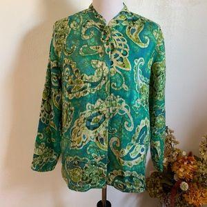 Laura Ashley green/multicolor button down jacket L